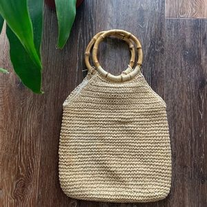 Woven straw rattan style purse w/ bamboo handles